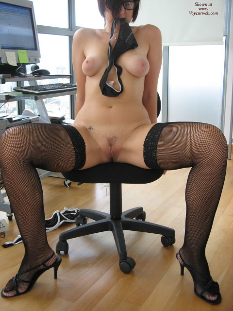 Nude At The Office - Hairy Bush, Spread Legs, Naked Girl, Nude Amateur , Black Strappy Heels, Black Fish Net Thigh Highs, Office Work, Spread Legs Naked Body, Sex Pose, Glasses, Black Kitten Sandals, Small Tattoo, Huge Pink Areolas, Stripping In The Office