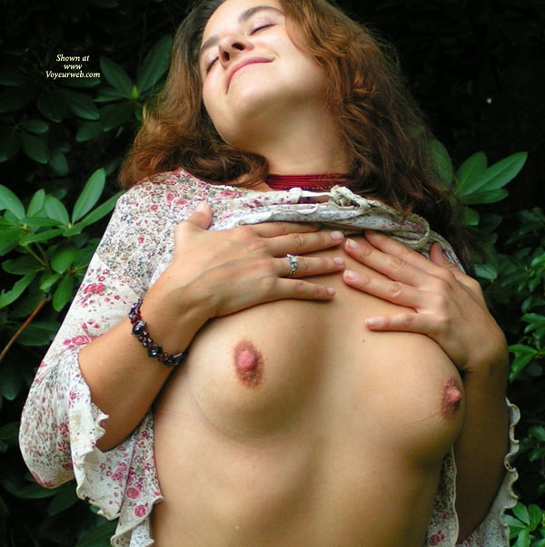 Flashing Outdoors - Brunette Hair, Flashing Tits, Flashing, Long Hair, Showing Tits , Flashing Outdoors, Brunette, Flashing Tits, Flowered Dress, Long Brown Hair, No Bra, Exposed Tits, Blouse Lifted