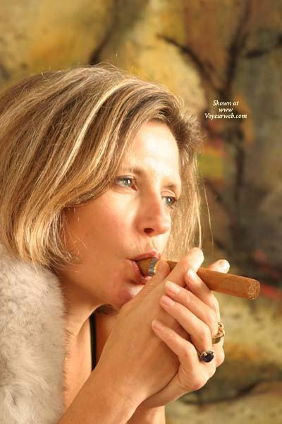Facial - Mature , Facial, Mature, Cigar Smoking, Blonde Smoking, Blond With Rings
