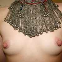 Topless With Small Breasts And Large Nipples Wearing Silver Beaded Necklace - Erect Nipples, Large Breasts, Small Breasts, Small Tits, Topless , Long Erected Nipples, Silver Beaded Chainmail Breastplate Necklace, Huge Nipples On Small Breasts, Tiny Tits, Tits And Jewelery, Eraser Nipples
