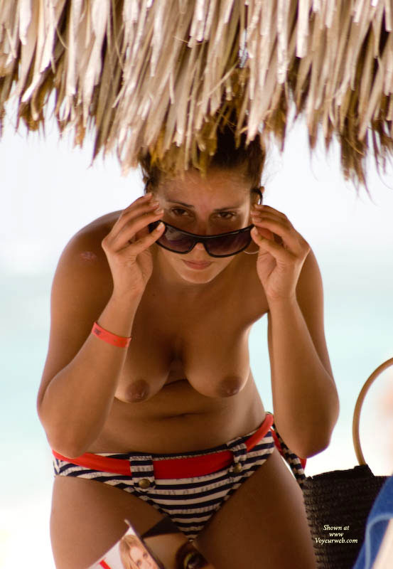 Topless Leaning Over - Topless , Red Belted Bikini Bottom, Black And White Striped Bikini Briefs, Gravity Test, Girl At Beach, Suspicious Eyes, Sun Glasses, Hanging Tits, Brown Nipples, Bikini Bottoms, Hangers And Shades, Glasses And Tits