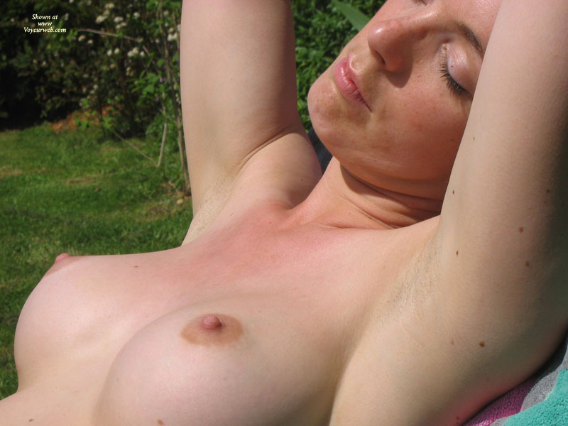 Topless Sunbathing - Erect Nipples, Firm Tits, Perky Tits, Topless , Pretty Face, Luscious Nipples, The Boobs Are Out, Smooth Body, Close-up Tits, Great Perky Tits, Closed Eyes
