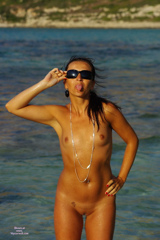 Front Nude Facing Camera - Shaved Pussy, Hot Girl, Naked Girl, Nude Amateur , Tanned Skin, Nude At The Beach, Hot Girl In Shades, Afternoon Sun At Water, Tongue Out, Girl At The Water, Fit Body, Playful Pose