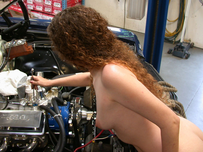Nacked Redhair Repairing Car Engine - Long Hair, Perky Tits, Red Hair, Small Tits , Girl Mechanic, Puffy Areolas, Cute Tits, Perky Small Tits, Tits Profile, Inspecting An Engine, Curly Red Hair, Profile Shot Slightly Bent Forward