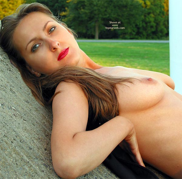 Perky Nipple - Nude In Public , Perky Nipple, Nude In Public, Beautiful Brunette, Gorgeous Eyes, Blue Waistcoat, Red Lipstick