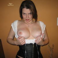 Indoor Tits - Brown Hair , C-cup Tits, White Blouse With Exposed Tits, Black Corset Nice Tits, Black Corset, Leather Corset, Short, Tits Out, Wedding Ring, Red Lipstick