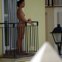 Side View Of A Naked Girl Standing On Balcony - Brunette Hair, Naked Girl, Nude Amateur , Nude Coffee Break, Exposed In Public On Bedroom Balcony, Morning Coffee, Naked Brunette With Hair Pulled Back, Medium Breasts In Side View, Nude Neighbour