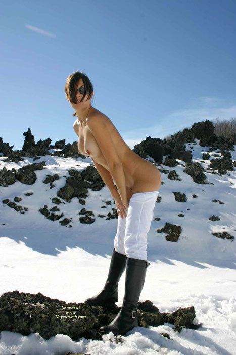 Sexy Nude Wife In Snow - Brown Hair, Brunette Hair, Large Breasts, Nude Outdoors, Sunglasses, Topless, Naked Girl, Nude Amateur, Nude Wife, Sexy Wife , Contrasting Boots And Pants, Black Boots And White Snow, Hot Wife, Pantyless And Topless In Cold Air., Dark Sunglasses, Black Riding Boots, White Riding Pants, Snow Bunny With Boots