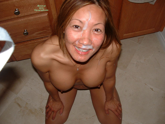 Smiling Cum Face - Brown Eyes , Asian Girl, Cum Target, Sitting On Knees, On Her Knees, Large Round Tits, Cum All Over Her Face, Brown Eyes