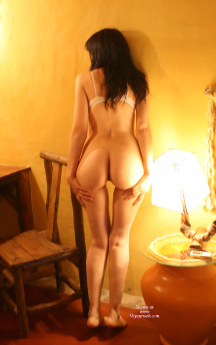 Tippy Toe Ass Cheeks - Dark Hair, Long Hair, Sexy Ass, Sexy Figure , Ass By Lamp Light, Heart-shaped Ass, From Behind, Slim Waist, Ass Gap, Sexy Hourglass Figure, Bottomless, Bra On, Ass By The Old Wood Chair