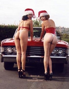Santa Outfit , Santa Outfit, Santas Little Helpers, Bent Over The Hood, Classic Car Ass, Double Ass