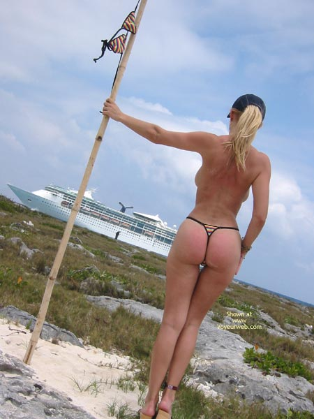Showing Boobs To Cruiseship - Blonde Hair, On Beach, Topless Girl , Showing Boobs To Cruiseship, Topless Girl, Oceanside, Side Boobs From Behind With Nice Ass, Thong And Heels On Beach, Blonde Hair