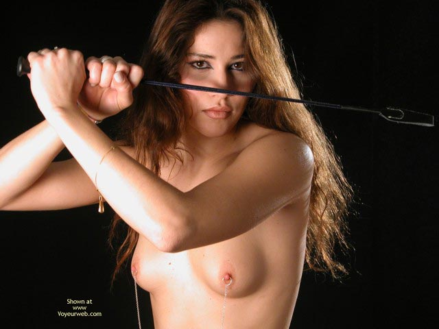 Nude With Riding Crop , Nude With Riding Crop, Nipple Chains On Brunette, Nipple Chain, Nipple Rings