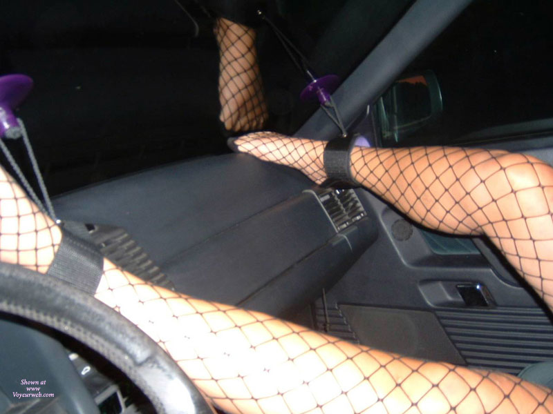 Car Bondage - Bondage, Spread Legs, Stockings, Spread Eagle , Black And Purple Ankle Cuffs, Black Ankle Straps, Black Fence Net Stockings, Legs Bound To Windscreen, Fishnet Stockings, Restrained In Car, Spread Legs, Car Kink, Black Fishnet Stockings, Unique Bondage Technique!, Tied Up In The Car