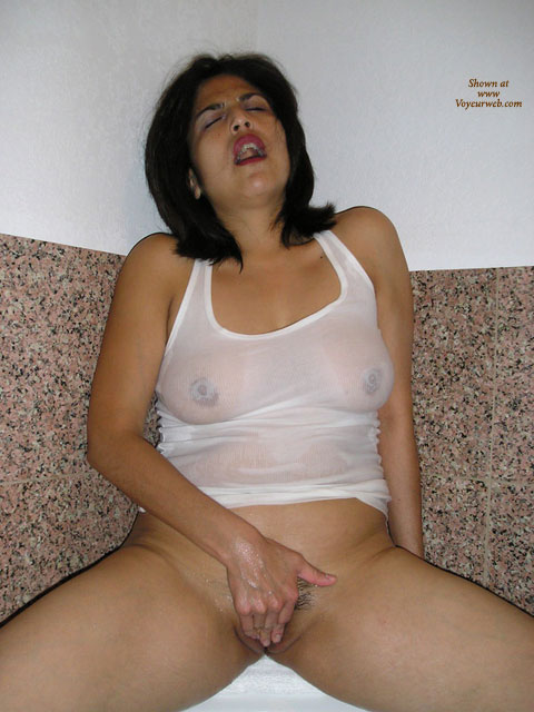 Fingering Pussy , White Wet T-shirt, Full Frontal Shot, At The Peak Of Her Own Pleasure, Wet T-shirt, Rubbing Her Own Clit, White Wet Tank Top, Woman Having Orgasm, Orgasmic Look On Her Face, Cupping Her Pussy, Bottomless