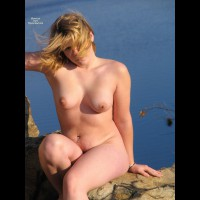 Posing By The Lake - Blonde Hair, Dark Hair, Erect Nipples, Navel Piercing, Nude Outdoors, Perfect Tits, Naked Girl, Nude Amateur , Medium Sized Tits, Sitting Nude Outdoors, Curvy Body, Windblown Hair Blond, Dark Eyes, Womanly Hips And Thighs, Breeze Blowing Hair Across Face, Pink Areolas