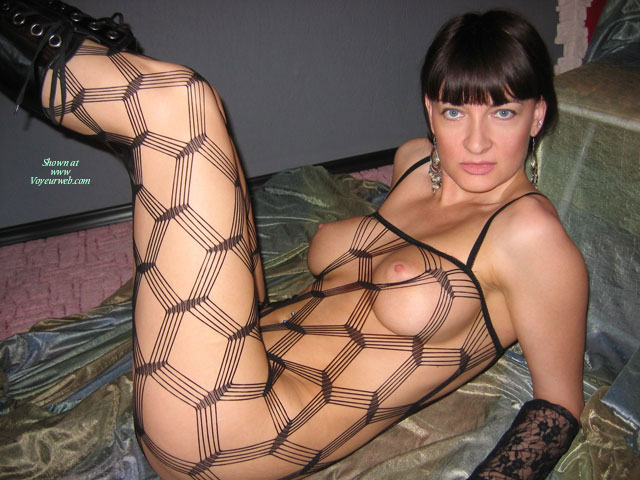 Crochet Black Body Stocking - Black Hair, Blue Eyes, Erect Nipples, Large Breasts , Perky Nipples, Blue Eyes With Boots, Short, Lying On A Bed, Fishnet Stockings, Dressed In Net, C Cup, Large Firm Breasts, Medium Pink Disk Areolas