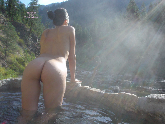 Naked And Viewed From Behind In A Cool Stream Pool , Naked In The Mist, View From Behind In Riverside Pool., Contrasts In Colors, Naked Out Doors In Pool, Standing In Nature, Greeting The Day Naked, Facing The Morning Sun, Naked Outdoors, Outdoor Ass Shot, Wey Butt Shot, Bending Over