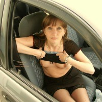 Flashing From Car - Nude In Car, Small Breasts, Stockings , Flashing From Car, Small Breasts, Sexy Codriver, In Car, Black Miniskirt, Black Stockings