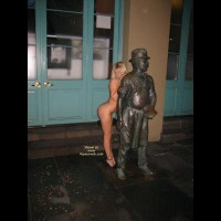 Blonde Hair - Blonde Hair, Heels, Profile , Blonde Hair, Standing Naked In Public, High Heels, Profile, Behind Statue