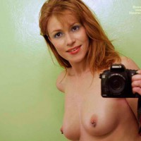Self Pic With Pierced Nipples - Brown Eyes, Pierced Nipples, Self Shot, Topless , Small Nipples, Pic Of Nipple Piercings, Redhead With Camera, Self Portrait, Nipple Rings, Redhead Shoulder Length, Natural Red Head, Self Pose, Brown Eyes