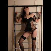 Submissive Theme - Black Hair, Brown Hair, Dark Hair, Long Hair, Stockings, Trimmed Pussy , Indoor Pussy, Thigh High Stockings, Black Lace Basque, Non-restrictive Sm, Black Outfit, Dressed In Net, Long Straight Dark Brown Hair, Black Lace Gloves, Black Lace Stockings, Garter Strap, Blindfold