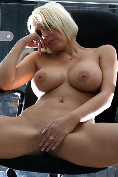 Big Breast - Blonde Hair, Chair, Large Aerolas, Spread Legs , Big Breast, Blonde, Chair, Hand Covering Pussy, Legs Spread, Large Boobs With Large Aerolas