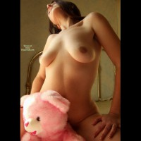 Naked Girl Riding A Pink Bear - Natural Tits , Care Bear Getting Some Care, Hands On Thighs, Kneeling On Bed, Riding Teddy, Head Thrown Back, Showing Boobs By Bed, Soft Body