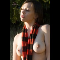Topless Girl Outside In Sun And Shadows - Dark Hair, Hard Nipple, Large Breasts, Long Hair, Pale Skin, Perfect Tits, Topless , Large Natural Breasts, Pale Skin Erect Nipple, Hard Nipples Outside Cold Day, Medium Round Tits, Goosebumps On Her Tits, Fair Complexion, Topless With Scarf Outdoors, White Skin
