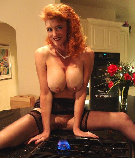 Redhead With Big Tits - Erect Nipples , Redhead With Big Tits, Perky Erect Nipples, Big Tits Bringing The Heat, Stove Top