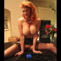 Redhead With Big Tits - Erect Nipples , Redhead With Big Tits, Perky Erect Nipples, Big Tits Bringing The Heat, Stove Top