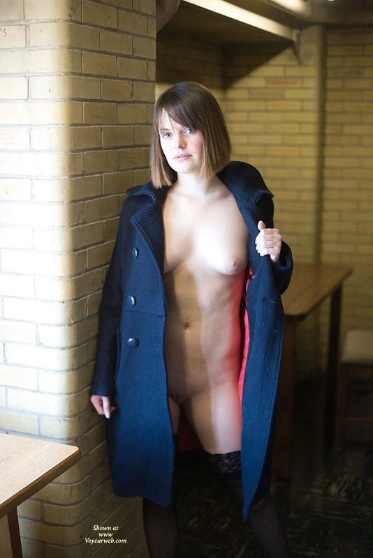 Heather Flashing In Her Coat , Wow! Thank You Every For Voting Me Into 3rd Place Last Month! I Was Totally Surprised! You Know How To Make A Girl Feel Wanted.. And All Those Hot Comments That Made Me Blush.. Well :)<br /><br />In Thanks For The Votes And Comments I've Resubmitting My First Set Of Photos That I Didn't Get Published Last Month In Addition To This Set Here. These Pics Are The Continuation Of My Flashing Adventure From Last Month. I'm Also Submitting Another Set Of Pics That Show Me Stripping My Clothes Off. We Played Around In The Library Some Then Went Elsewhere On Campus-- In A Classroom And Some Hallways And I Flashed From Under My Coat Some More. Certainly Was Interesting Walking Around Naked Under The Coat In The Courtyard While Everyone Around Me Was Totally Unsuspecting... My Stockings Kept Slipping Off (I Needed To Use A Garter!) And It Was Hard To Keep The Illusion I Was Wearing A Dress, Even Though I Wasn't.<br /><br />I Hope You Enjoy These As Much As I Enjoyed Doing It. Thanks For Your Votes From Last Month (and This Month Too!) And For Leaving Me All Those Nice Comments. I Might Even Respond To Ones I Find Interesting :)