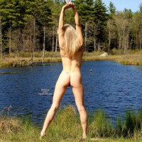 Rear Shot Of Stretching Nude Girl - Blonde Hair, Round Ass, Naked Girl, Nude Amateur , Nice Muscular Legs, Stretching Outdoors, Nude At The Lake, Nude Blonde Beside Pond, Trim Athletic Body, Nude In Nature, Fully Naked, Nude From Behind By Pond