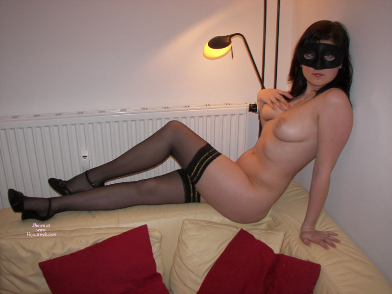 Sitting On Top Of Couch Naked In Mask And Stockings - Brunette Hair, Heels, Long Legs, Stockings , Black Mask, Long Legs And B-cup Breasts, Stockings And Heels, Naked Brunette With Mask And Stockings, Black Nylons And Mask, Gold Trimmed Black Hold-ups, Medium Natural Breasts