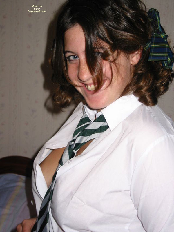 Sideblouse - Blue Eyes, Brunette Hair , Naughty Schoolgirl, White Blouse, Butter Face, School Girl Outfit, Hair Ribbon, White Green Striped Tie, Brunette Short Hair