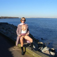 Flashing Outdoors By The Lake - Flashing, Landing Strip, Nude Outdoors, Sunglasses, Naked Girl, Nude Amateur , White Classic Scarf, Lavendar Overcoat, Lavandar Skirt, Black Leather Boots, Sweater No Bra, Pussy And Titties Flash By The Lake, Upskirt No Panties, Flashing At The Beach