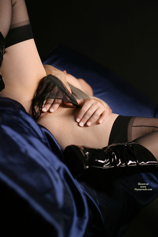 Girl Masturbating On Bed , Pvc Boots, Blue Silk Sheets, Sheer Black Panty, Girl Fingering, Black Sheer Panties, Sexy Self Play, Pussy With Fingers, Black Vinyl Boots, Mesh Knickers, Black Nylons, Black Boots, Crotch Shot With Panties
