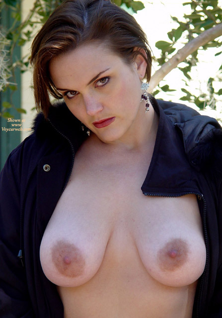 Outdoor With Coat Over Topless Body - Big Tits, Topless, Topless Wife , Boobs Hanging, Large Oblong Aerolas, Bare Breast Unzipped Jacket, Russian Showing Off Her Tits, Boob Frontal, Dark Eyes, Black Snap Jacket, Dangling Onyx Earrings, Big Aeroleas