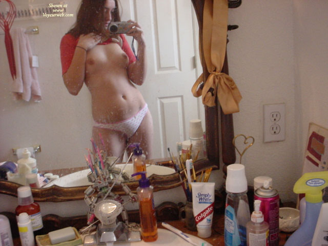 Shooting Her Own Tits On Mirror - Brown Hair, Self Shot, Topless , White Panties, Young Topless Girl, Small Boobs, In The Mirror, Mirror Photo Titties, Red T-shirt, Mirror Shot, Shoulder Length Brown Hair, Self Photo