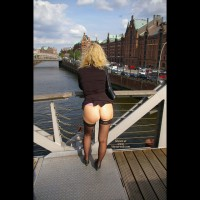 Wife Flashing - Blonde Hair, Exhibitionist, Flashing Ass, Flashing, Stockings , Bottomless Raised Skirt From Behind, Ass Outside, Exhibitionist On The Bridge, Black Thigh High Stockings, Nice View On The Bridge, Exposed In Public, Naked Bum, Hamburg, Curly Hair