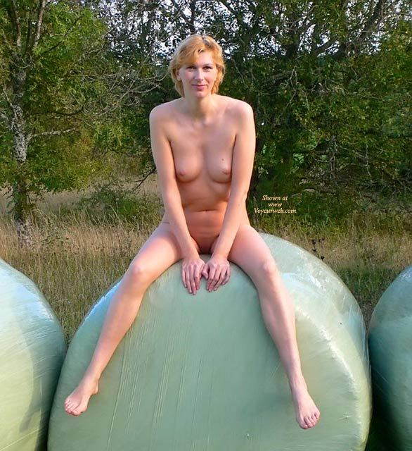 Nude Girl Sitting On Hay Bale - Blonde Hair, Milf, Shaved Pussy, Spread Legs, Naked Girl, Nude Amateur , Thin White Milf, Frontal View Of A Nude Girl, Strawberry Blonde Hair, Girl Next Door, Small Boobs, Hands In Front, Nude In Nature, Short Blonde Hair