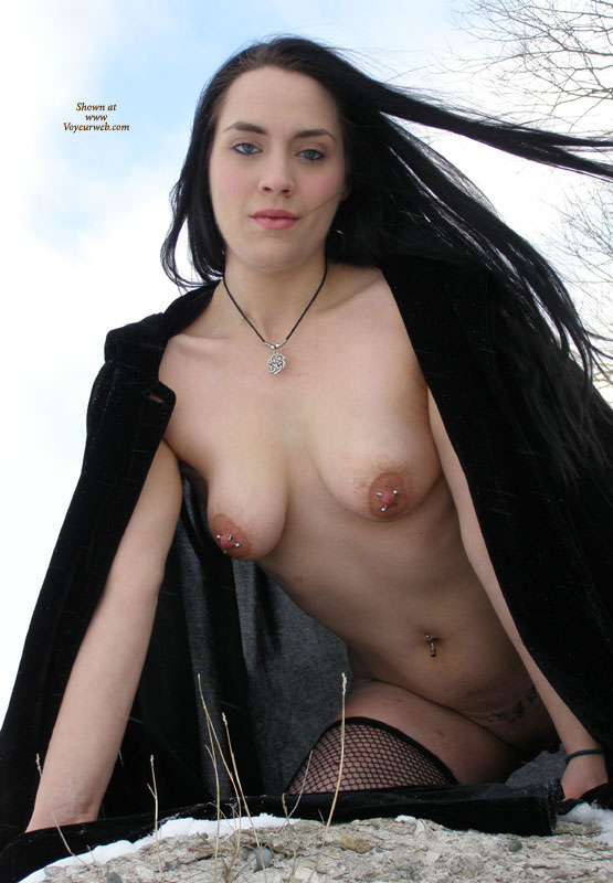 Goth Girl With Pierced Nipples - Black Hair, Dark Hair, Long Hair, Navel Piercing, Pierced Nipples, Stockings , Gothic, Very Long Black Hair, Double Pierced Tits, Black Wool Winter Coat, Multiple Nipple Piercings, Black Fishnet Stockings, Fish Net Stockings