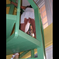 White Dress - Shaved Pussy, White Dress , White Dress, Shaved Pussy, White Heels, Pantyless Upskirt, Flashing On The Stairs