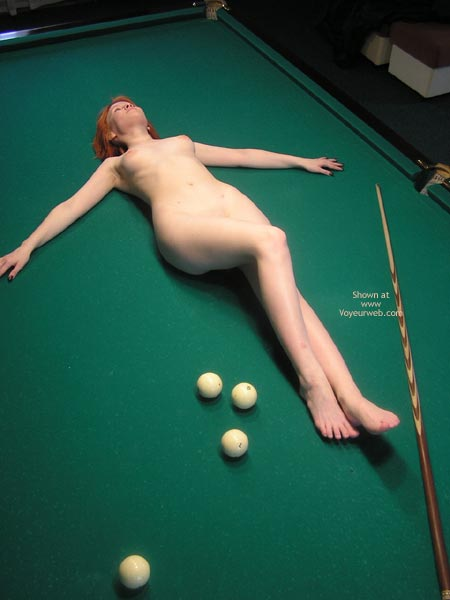 Pale Body - Sexy Body , Pale Body, Cue On Green, Naked On Pool Table