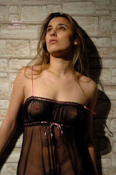 Brunette Standing Frontal - Brunette Hair , Black And Pink Teddy, Semi Erect Nipples, Sheer Baby Doll, See Through Baby Doll, Bare Shouldered See Through Teddy