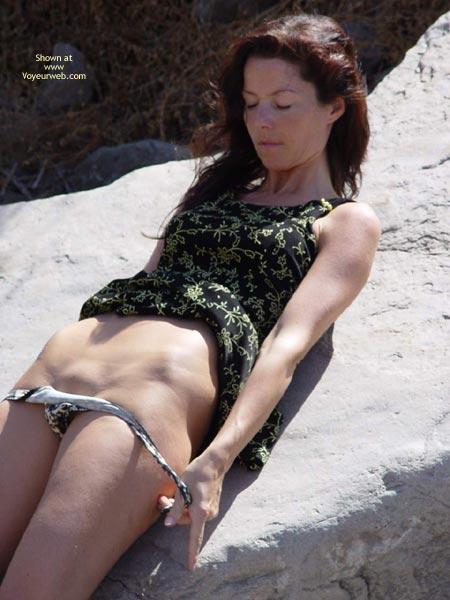 Girl Taking Off Her Panty , Girl Taking Off Her Panty, Summer Dress, On A Rock, Bareness And Bald