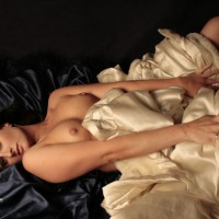 Sexy Wife Erotic Pose On The Satin Bed - Brunette Hair, Hard Nipple, Long Hair, Topless, Sexy Legs, Sexy Wife , Wraped In Silk, On Silk Sheets Topless, Long Brunette Hair, Laying On Back, Lying Legs Apart With Fur Coat, Lying On Satin Sheets, Black Sheets, White Cover Topless