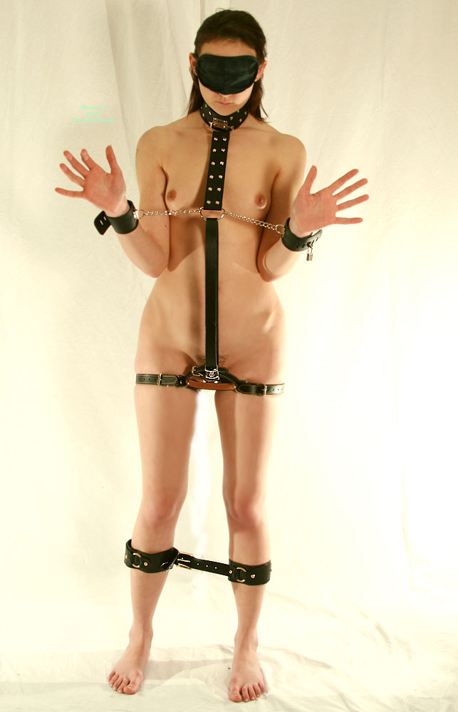 Bondage - Bondage, Brunette Hair, Dark Hair, Shaved Pussy, Small Tits , Natural Toenails, Minimal Makeup, Barefoot, Frontal Standing, Harnessed Beauty, Standing Blindfolded, Restrained Hands To The Side, Tied Up