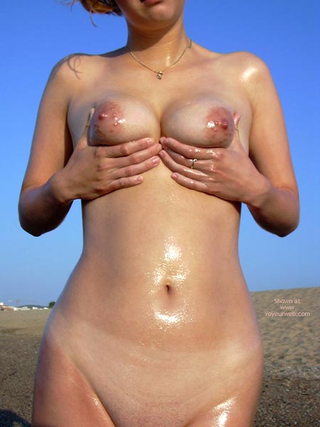 Wet Skin - Female Torso, Naked On Beach, Wet , Wet Skin, Cupping Breasts, Female Torso, Naked On Beach