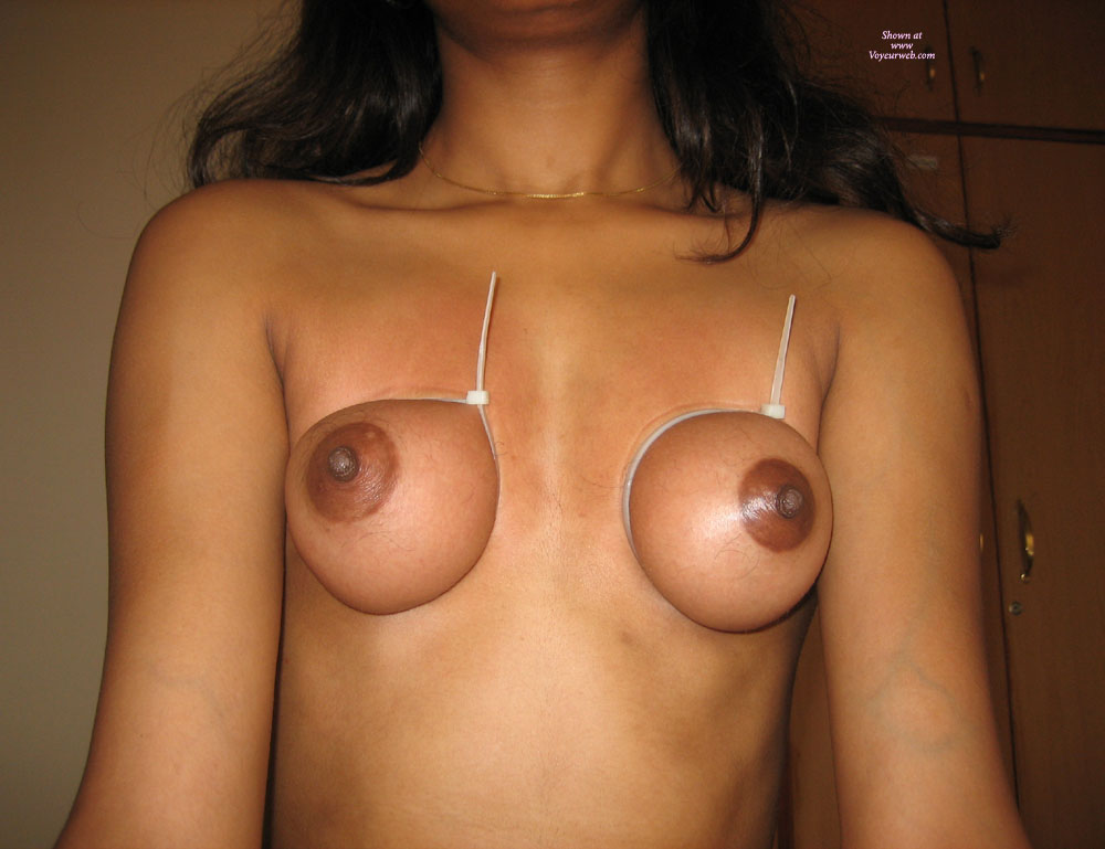 Breast Bondage - Bondage , Bound Tits, Tied Up Tits, Titty Tied, Brown Nipples, Large Dark Areola, Eraser Size Nipples